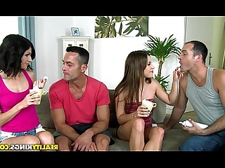 Big Tits Brunette Big Cock Couple Foursome Group Sex Hot Huge Cock